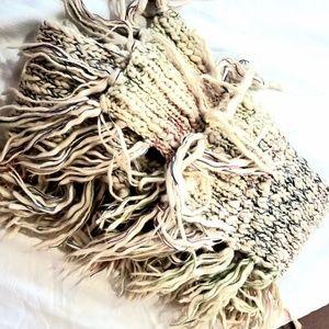 ☆AEO Cream & Multi-Colored Fringed Knit Scarf